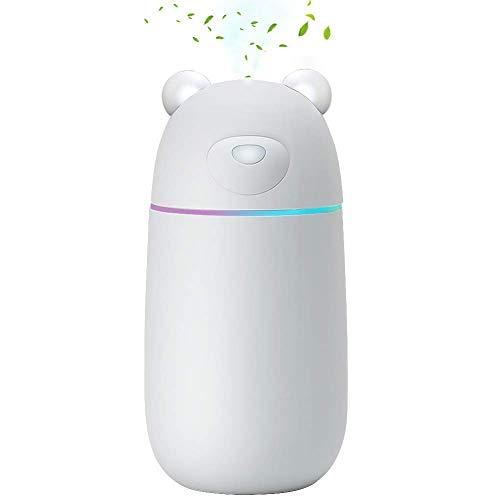 MANLI USB Luftbefeuchter Ultraschall Mini Humidifier Diffuser, 280ml Flüsterleise Mini Luftbefeuchter Diffusor, Auto-off mit LED-Licht Tragbarer Luftbefeuchter Büro Auto Reise Schlaf Kinder Erwachsene