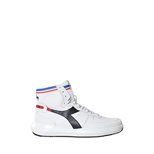 Sneakers Uomo SS 2019 Mi Basket, Alta, in Pelle bottalata Con Effetto Traforato in Punta, Plantare in Pelle Estraibile, Suola in Gomma (Punta Mi)