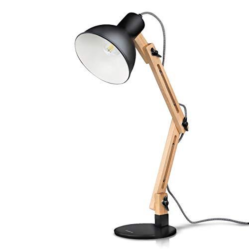 ♪ * 3 Farbe Swing Arm LED Schreibtischlampe, Designer Tischlampe aus Naturholz für Wohnzimmer, Studio, Büro und Büro ♪ -