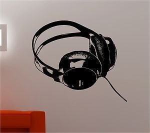 Online Design Dj Headphones Music Kids Wall Art Sticker Decal Bedroom    Black Part 88