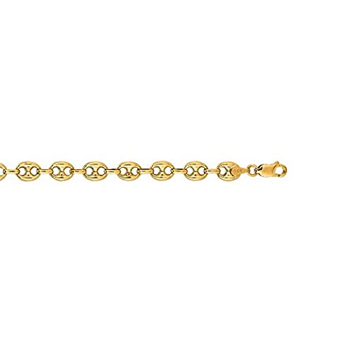 14ct Yellow Gold Bracelet Puffed Mariner Chain - 18 Centimeters