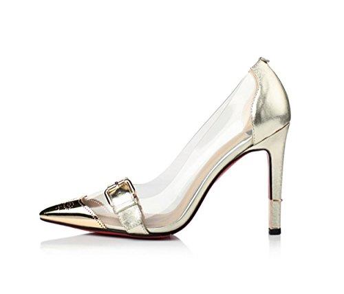 WSS chaussures à talon haut Boucle de ceinture pointu talons hauts talons en cuir élégant couture couture couleur chaussures correspondant avec la marée haute chaussures Gold