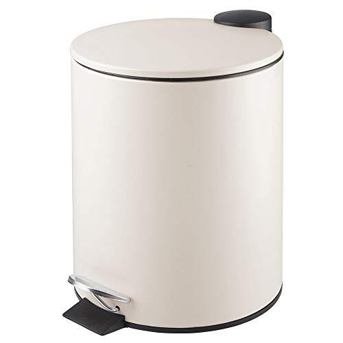 MDesign Papelera de baño redonda - Contenedor de residuos de metal con 5 litros de capacidad, pedal...