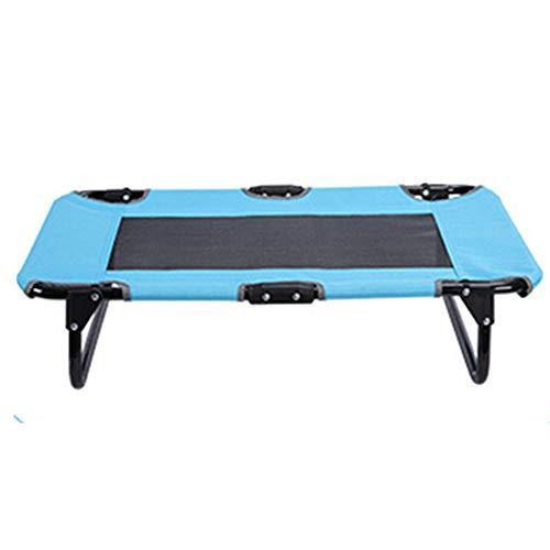 WYF Abnehmbare und waschbare Faltbrett-Bett geeignet für große Hund Krippe Indoor Outdoor Camping Steel Frame Lieferungen Vier Jahreszeiten verfügbar Blau