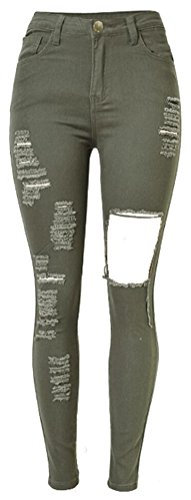 SMITHROAD Damen Stretch Jeansleggins Skinny Jeanshose Röhrenjeans Armeegrün in 6 verschiedenen Designvarianten Stil E