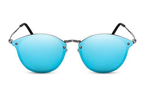 Cheapass Rund-e Sonnenbrille Cat-Eye Blau Verspiegelt Flat-Mirror Flach-e Gläser Designer-Brille Festival-Accessoire UV-400 Metall Unisex