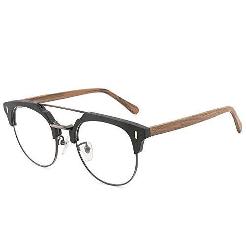 Gläser Platte Holzmaserung Framer Brillengestell Retro Imitation Holz Flat Light Brille (Color : 02braun, Size : Kostenlos)