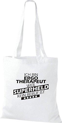 Shirtstown Stoffbeutel Ich bin Ergotherapeut, weil Superheld kein Beruf ist weiss