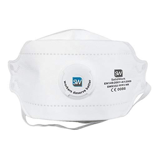 SolidWork Atemschutzmaske im 5er oder 10er Set - Premium Atemmaske - Perfekt anpassbare FFP3 Mundschutz Maske - Feinstaubmaske, Staubschutzmaske