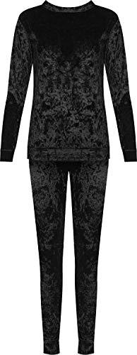uetscht SAMT Loungewear Einstellen Damen Top Hose Velour Trainingsanzug Lang - Schwarz - 42-44 ()