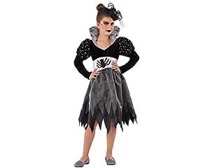 Atosa-61438 Atosa-61438-Disfraz Mujer Araña-Infantil Niña, Color gris, 7 a 9 años (61438