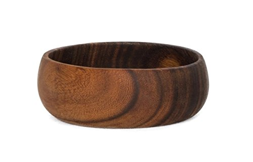 Cuenco de madera de acacia–Cuenco frutero, ensaladera de madera–15cm decoración, almacenamiento, marrón tabaco, redondo