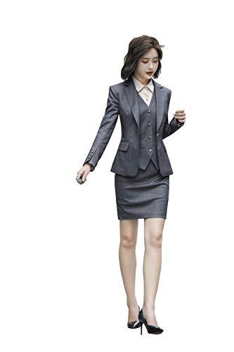 Rojeam Damen Büro Slim Fit Hose Anzüge Rock Anzüge Blazer Business-Anzug Set Arbeit Rock Hose Hemd Weste