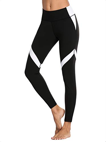V FOR CITY Damen Sport Leggings Damen hohe Taille Yoga Hose Bauchkontrolle mit Seitenstreifen M