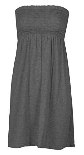 Mix lot neue Frauen-Scher boobtube Bandeau-trägerlose / ärmelloses Top Klar Damen sexy Sommer-Strand-Kleid oben klein mittel plus size Freizeitkleidung Größe 36-50 (M/L 40-42, CHARCOAL)