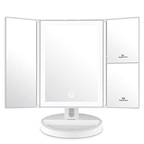 Auxmir Kosmetikspiegel mit LED Licht und 5X/ 10X-Vergrößerungsspiegel, Schminkspiegel Beleuchtet für Schminken, Rasieren und Tragen der Kontaktlinsen,Touchschalter für Dimmbare Heilligkeit