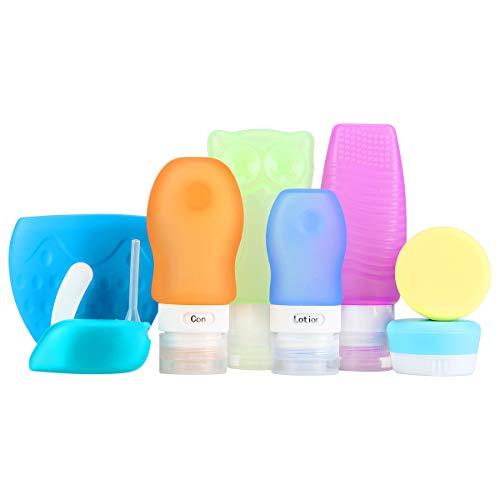 Iegeek bottiglie da viaggio a prova di perdite set,10pcs bpa bottiglie da viaggio in silicone per liquidi, contenitori cosmetici per shampoo / da toeletta / condizionatore / lozione e altro