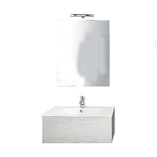 Meuble salle de bain suspendu de 70 modèle modulable orme naturel