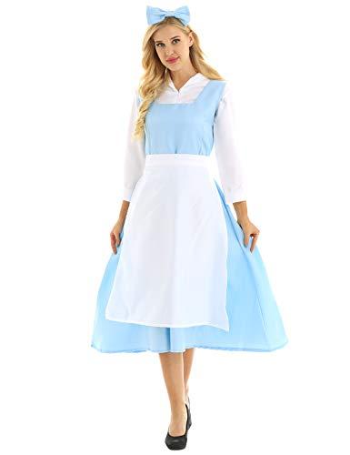 YiZYiF 4 PCS Damen Vintage French Dienstmädchen Cosplay Kostüm Lolita Maid Schürze Kleider Negligee Babydoll Zimmermädchen Kostüm Set Hellblau X-Large