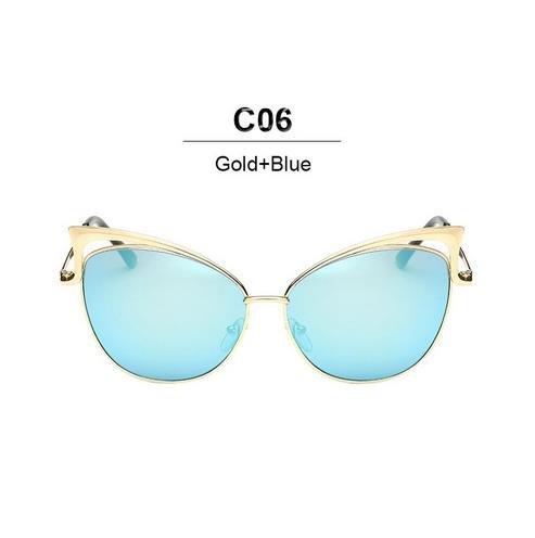 Aprigy Fashion Cat Eye Luxus-Sonnenbrille-Frauen-Marken-Entwerfer Twin-Beam-Spiegel Herren-Sonnenbrillen Jahrgang weiblich oculos [Gold Blau]
