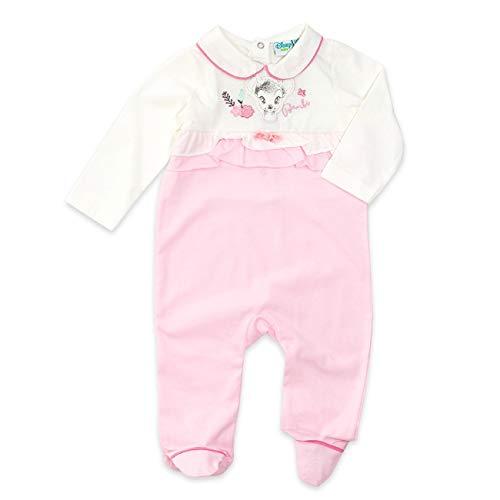 Disney Baby Strampler Mädchen weiß rosa | Motiv: Bambi | Baby Schlafanzug für Neugeborene & Kleinkinder | Größe: 6-9 Monate (74) (Disney Schlafanzug Für Kleinkinder)