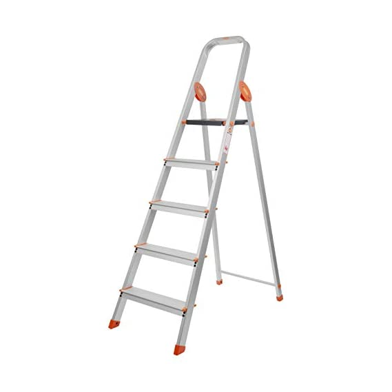 Bathla Advance Carbon - 5 Step Foldable Aluminium Ladder with Scratch Resistant Smart Platform and Sure-Hinge Technology (Silver, Orange and Black)