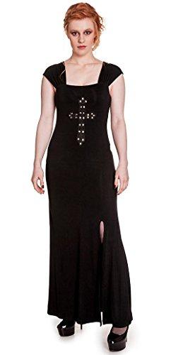 Longue robe noire fendu, Crucifix Dress, Hell Bunny Noir