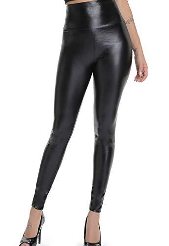 9c17e030cc FITTOO Mujeres PU Leggins Cuero Brillante Pantalón Elásticos Pantalones  para Mujer300 2 Negro Brillante M