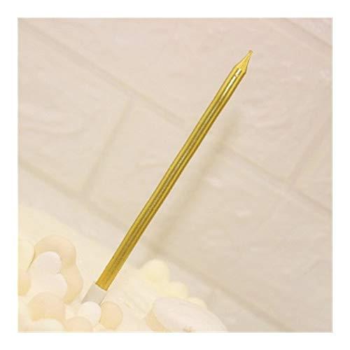 3 Stück lange Bleistift-Kerzen für Kuchen, sichere Flammen, rauchfrei, Kindergeburtstag, Hochzeitstorte, Kuchen, Dekoration für Gastgeschenke 02 Gold -