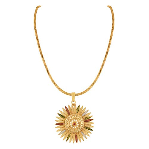 Apara Mint Meena One Gram Jewellery Gold Plated Pendant Chain Earring Jewellery Set for Girls/Women