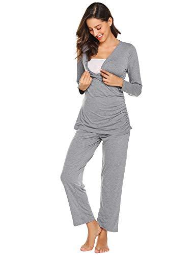 Maxmoda pigiama due pezzi premaman donna pigiami allattamento scollo a u vestaglia ragazza manica lunga con pantaloni grigio