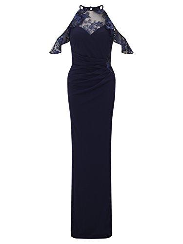 Lipsy Damen Schulterfreies Maxikleid Spitzeneinsätze Rüschendetail Kleid Blau