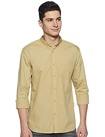 Amazon Brand - Symbol Men's Solid Regular Fit Full Sleeve Cotton Casual Shirt (AZ-SY-RM-13A-03_Beige_Small)