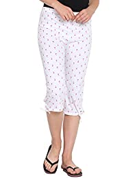 FflirtyGo Women's Comfort Capri, Night Pyjamas for Women, Night Dress, Lounge Wear, Red Color Palm Tree Printed On White 3/4 Pyjama,–Soft Cotton Night Wear