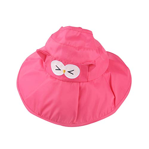 TWIFER Toddler Baby Kids Girls Boys Candy Cartoon Ribbons Breathable Hat Bucket Cap Sun Beach Hat Unisex Child Adjustable Wide Brim Sun Protection Hat(Hot Pink)