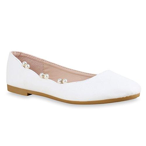 Damen Ballerinas Zierperlen Strass Flats Schuhe Lederoptik Weiß