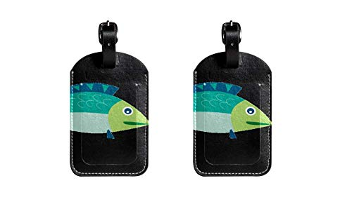 2 Stücke Clip Art Hochwertige PU-Leder-Gepäckanhänger Kindertaschenanhänger Reise-ID-Etiketten Tag Damen High-End-Design Herren-Gepäckanhänger für die Schiffsreisen