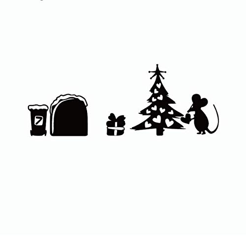 Baum-Mäuse-Weihnachten ließen es schneien Mäusegeschenk-lustige frohe Weihnacht-Wand-Aufkleber-Ausgangsdekor