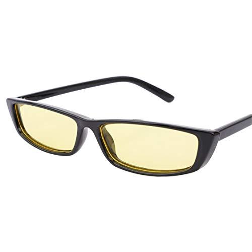 Idiytip Rectangle Sonnenbrillen Bruchsichere polarisierte Gläser mit 100% UV-SchutzSchwarzer Rahmen durch Gelb