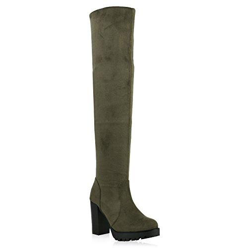 Modische Damen Stiefel Profil Sohle Overknees Block Absatz Schuhe 122034 Dunkelgrün Dunkelgrün 39 | (Knie Rabatt Stiefel Hoch)