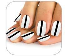 Faux ongles trait noir fond blanc