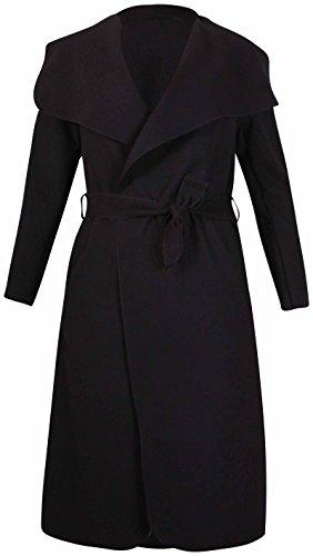 à manches longues pour femmes femme extensible col poche ceinture noeud veste cardigan Uni trench-coat Noir
