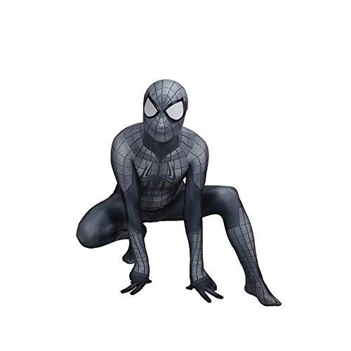 ASJUNQ 3D-Druck Spiderman Strumpfhosen Verbunden All-inklusive Halloween Cosplay Korsett Anzug Party Movie Requisiten,Grey-XL