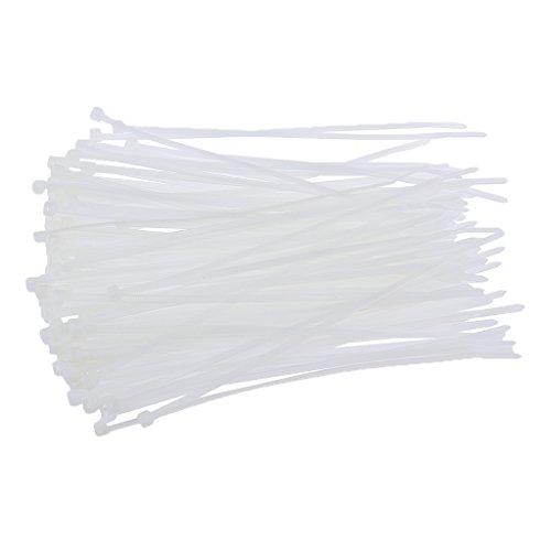 Magideal 100Stück Nylon-Mesh-Kunststoff Gurt-Verschluss mit Reißverschluss weiß