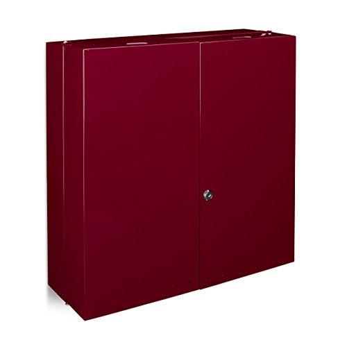 #Relaxdays Medikamentenschrank Edelstahl XXL H x B x T: 53 x 52,5 x 19,5 cm mit 11 Ablagen für viel Stauraum und Türen zum Abschließen samt 2 Schlüsseln Medizinschrank im modernen Stil fürs Bad, rot#