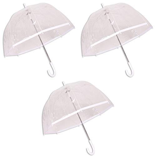 Juego de 3 Paraguas Transparente para Bodas y Fiestas con un Borde Blanco de 80 x 90 cm