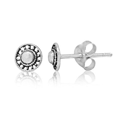 Chic-Net Ohrstecker 925 Sterling Silber Unisex Schmuck Ohrringe Rad Muster -