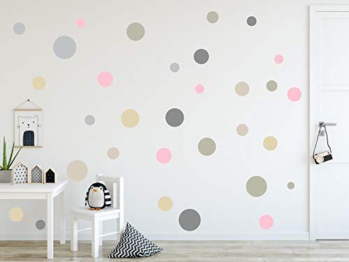 timalo® 120 Stück Wandtattoo Kinderzimmer Kreise Pastell Wandsticker - Aufkleber Punkte | 73078-SET3-120