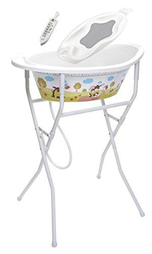 Rotho Babydesign Badeset mit höhenverstellbarem Klapp-Ständer, Niedliches Eselmotiv, 0-12 Monate, Bis max. 15kg, Emmi StyLe! Ideale Badelösung, 210390195BS