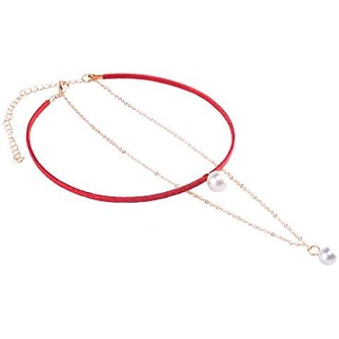 Collar Gargantilla YAZILIND Noble chapado en oro Cadenas terciopelo con la perla de imitaci¨®n colgante para las mujeres